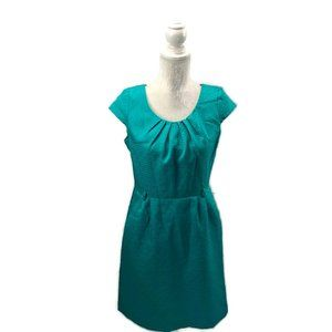 Jacquard Geometric Pleated Neck Sheath Dress 8